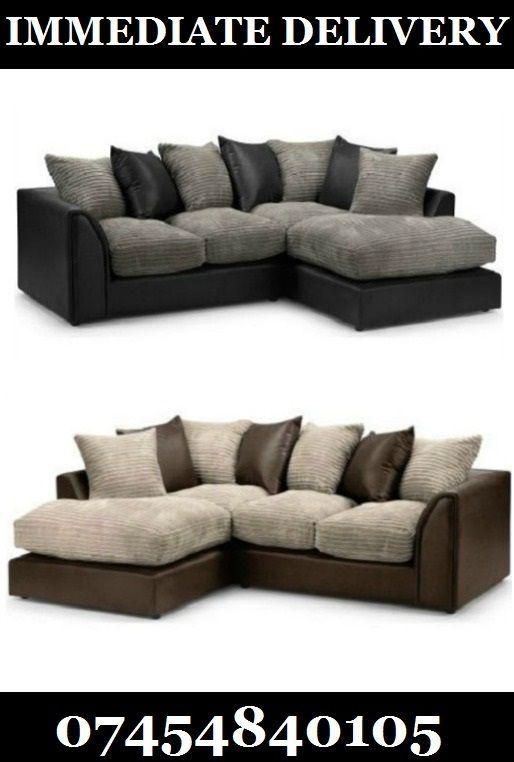 Best Brand New Byron Dylan Corner Sofa Black Grey Brown 400 x 300