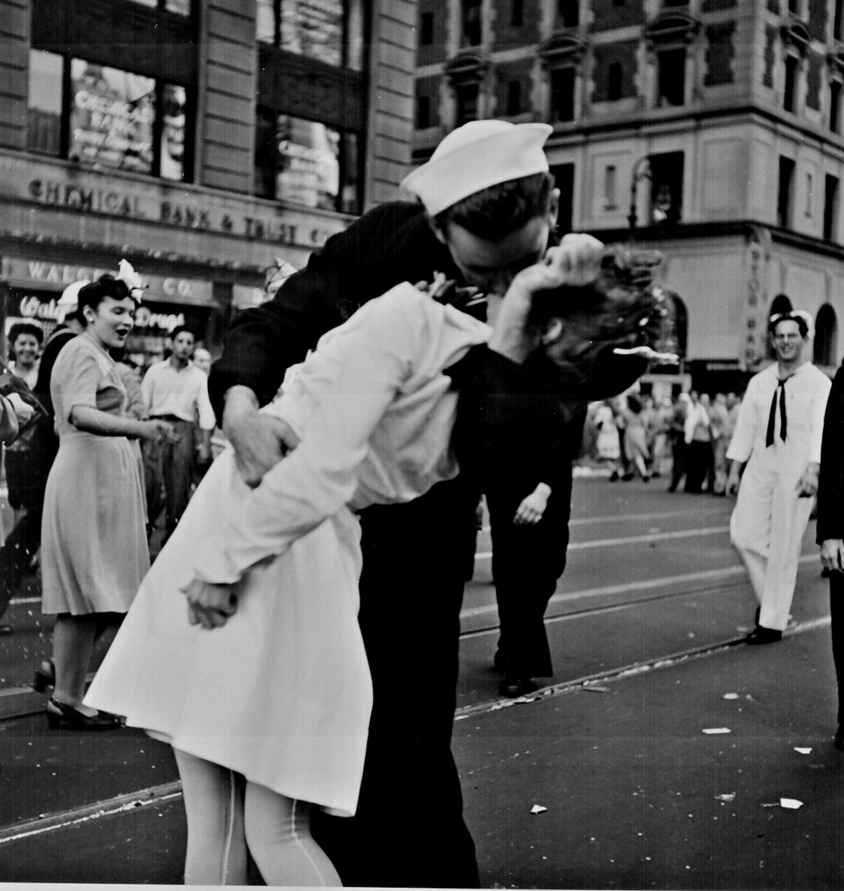"""""""New York City celebrating the surrender of Japan. They threw anything and kissed anybody in Times Square."""" Lt. Victor Jorgensen, August 14, 1945"""