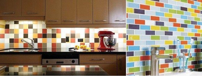 retro multicolored subway tile backsplash design and solid brown