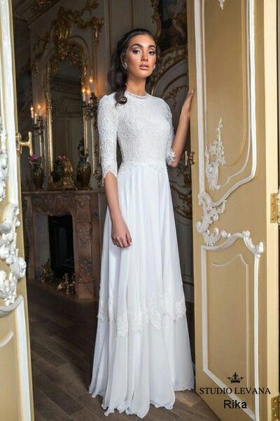 Modest And Elegant 3 4 Sleeves Wedding Gown Elegantweddingdresslace Stylish Wedding Dresses Modest Wedding Gowns Wedding Dress Sleeves
