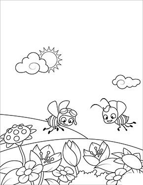 Ausmalbilder Fruhling Bienen Auf Der Wiese Ausmalbilder Fruhling Ausmalbilder Ausmalen