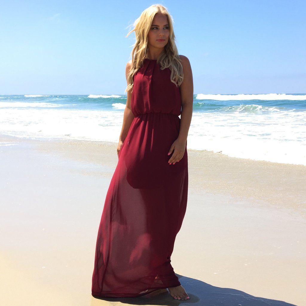 Primetime Maxi Dress In Wine