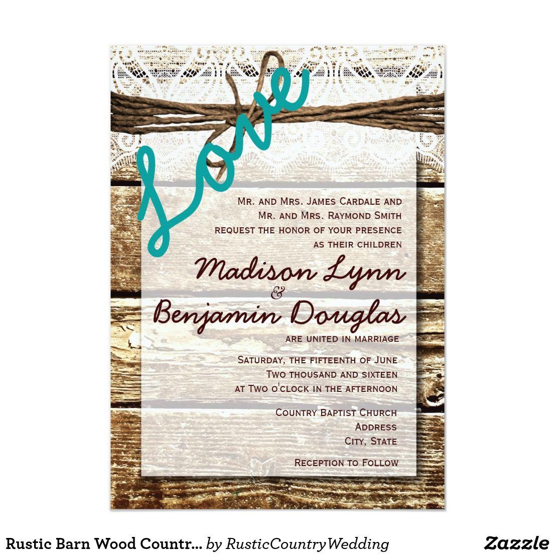 Rustic Barn Wood Country LOVE Wedding Invitations | Barn wood, Brown ...