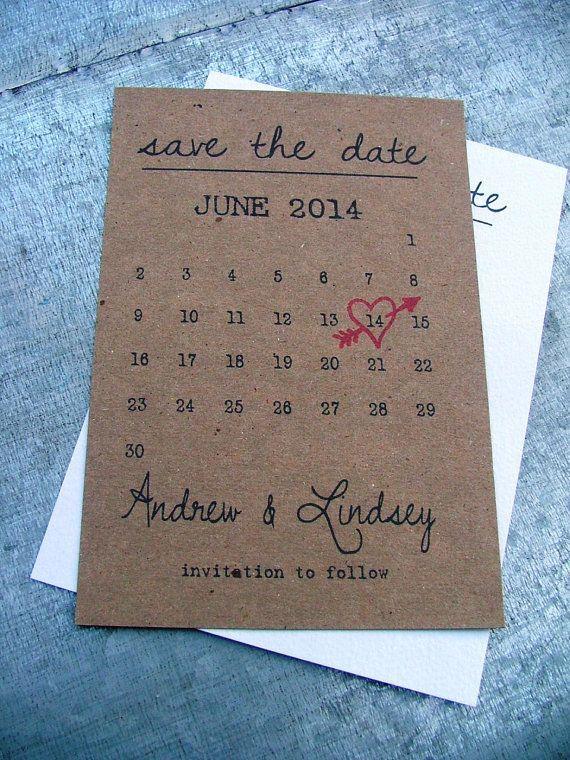 Printable Calendar Save The Date Cards Heart Wedding