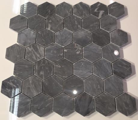2 Inch Hexagon Polished Marble Mosaic Tile Bardiglio Gray