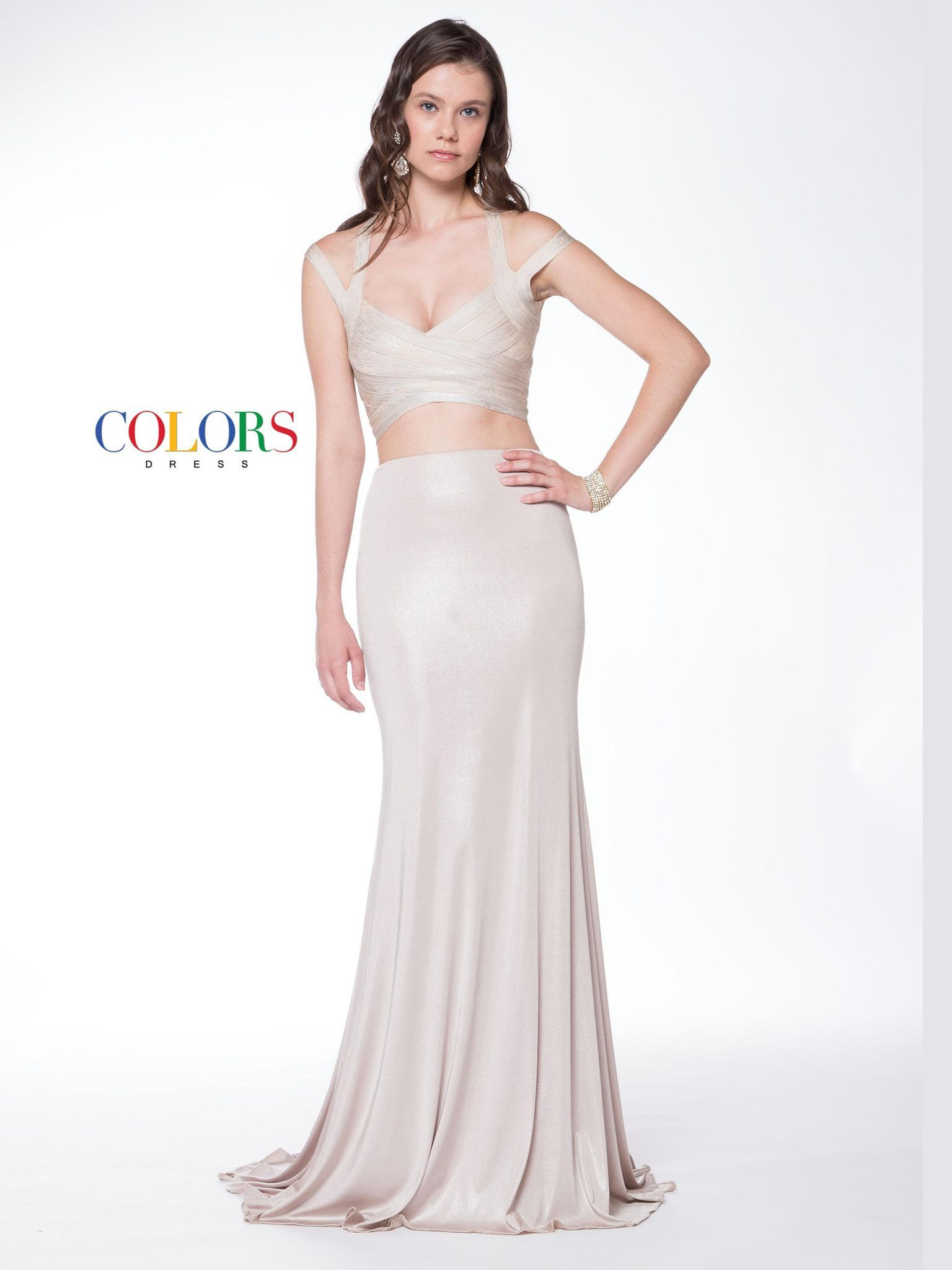 Colors two piece jersey stretch prom evening dress colors