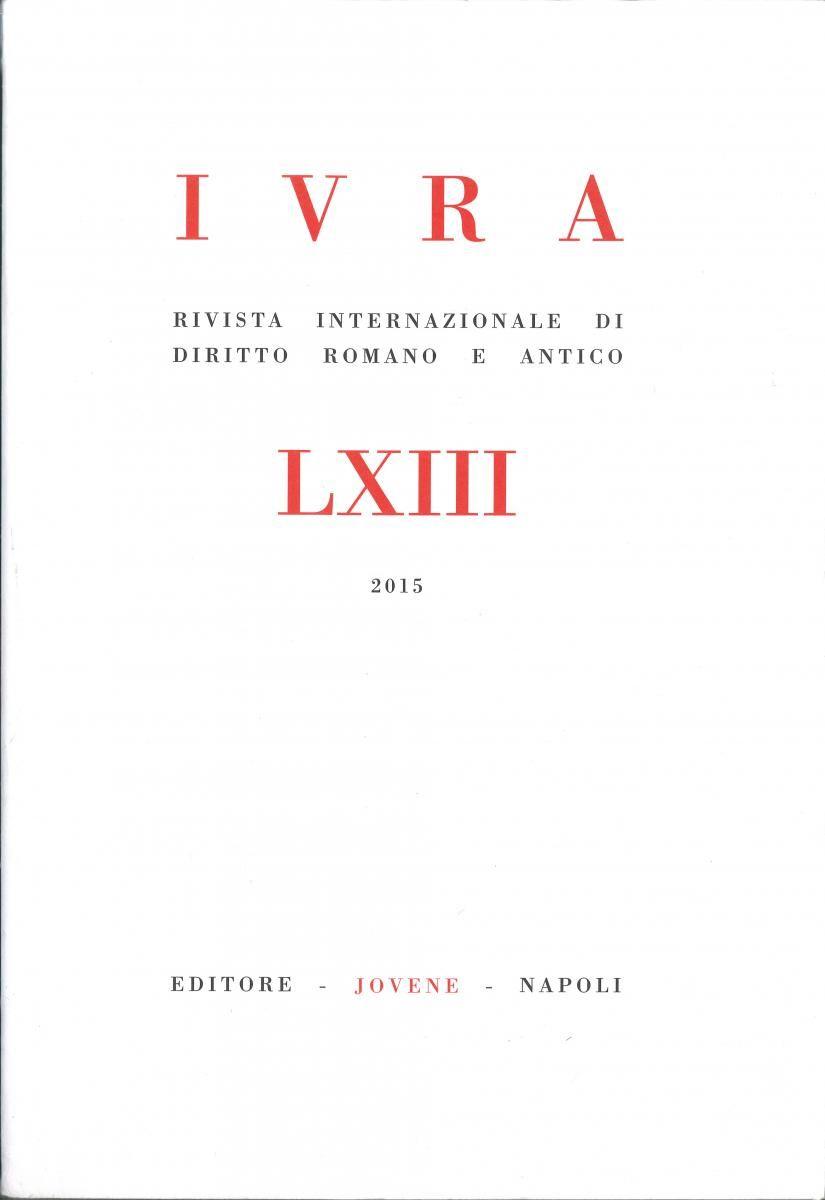 Znalezione obrazy dla zapytania IVRA - Rivista internazionale di diritto romano e antico