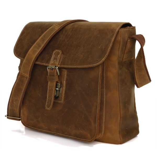 cfe130447c670 Vintage Handmade Genuine Crazy Horse Leather Messenger Bag   Satchel   Ipad  Bag in Brown