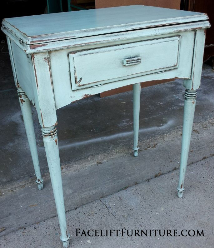 Antique Sewing Cabinet in Robin's Egg Blue - Facelift Furniture - Antique Sewing Cabinet In Robin's Egg Blue Sewing Cabinet, Egg And