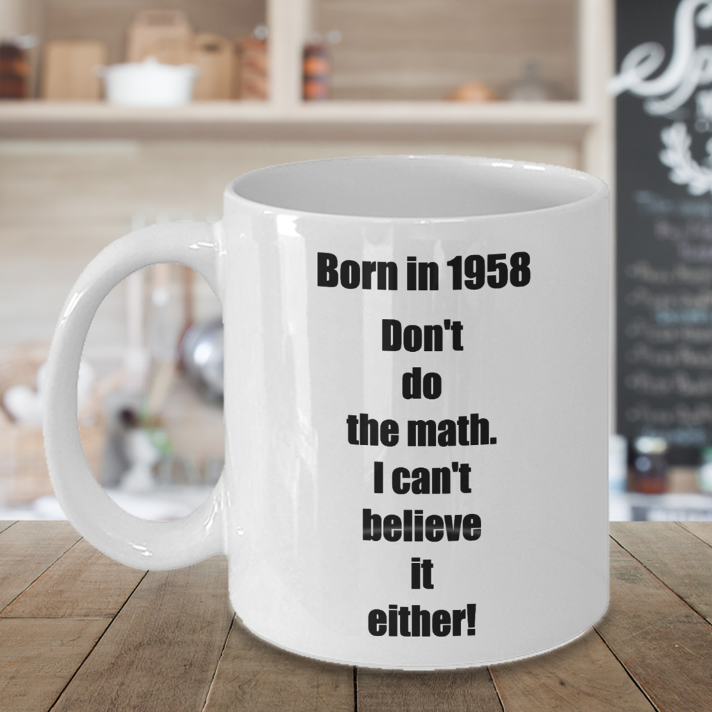 Born In 1958 60th Happy Birthday Coffee Mug Tea Cup For Women Men Gift Present Sixtieth 60s 60 Year Old