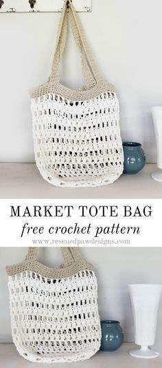 Market Tote Bag   Free crochet, Tote bag and Crochet