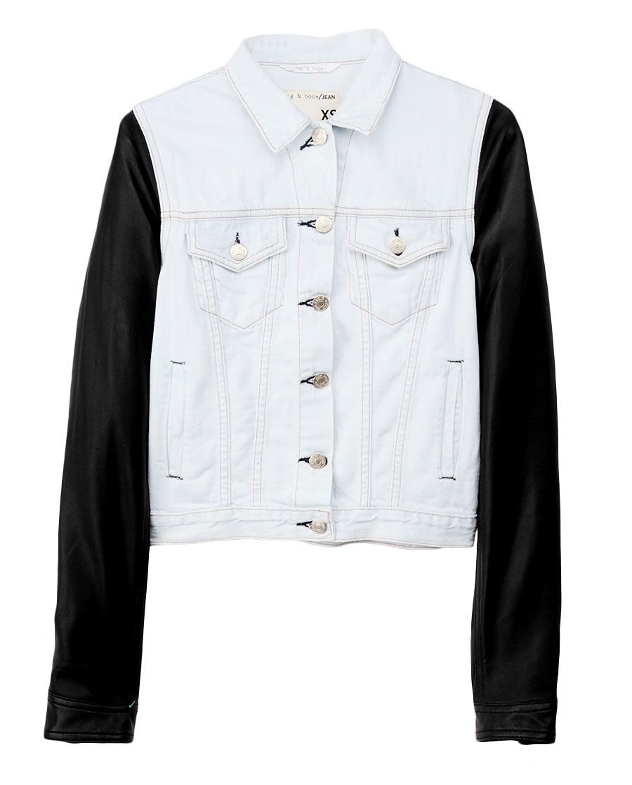 Rag Bone Bleached Jean Jacket With Leather Sleeves Denim Jacket Jackets Jean Jacket [ 1117 x 900 Pixel ]