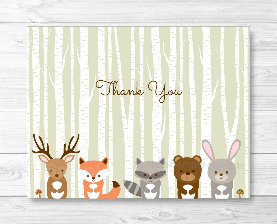 Woodland Forest Animals Folded Thank You Card Template Fox Deer Bear Raccoon Woodland Baby