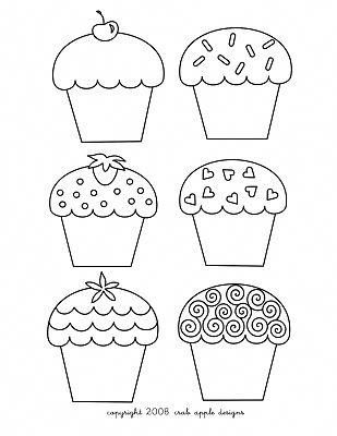 Cupcake Coloring Page & Embroidery Pattern #