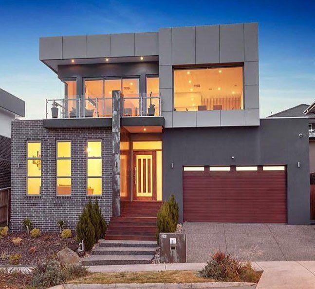 Facade from bricks & metal plates. Modern Architecture