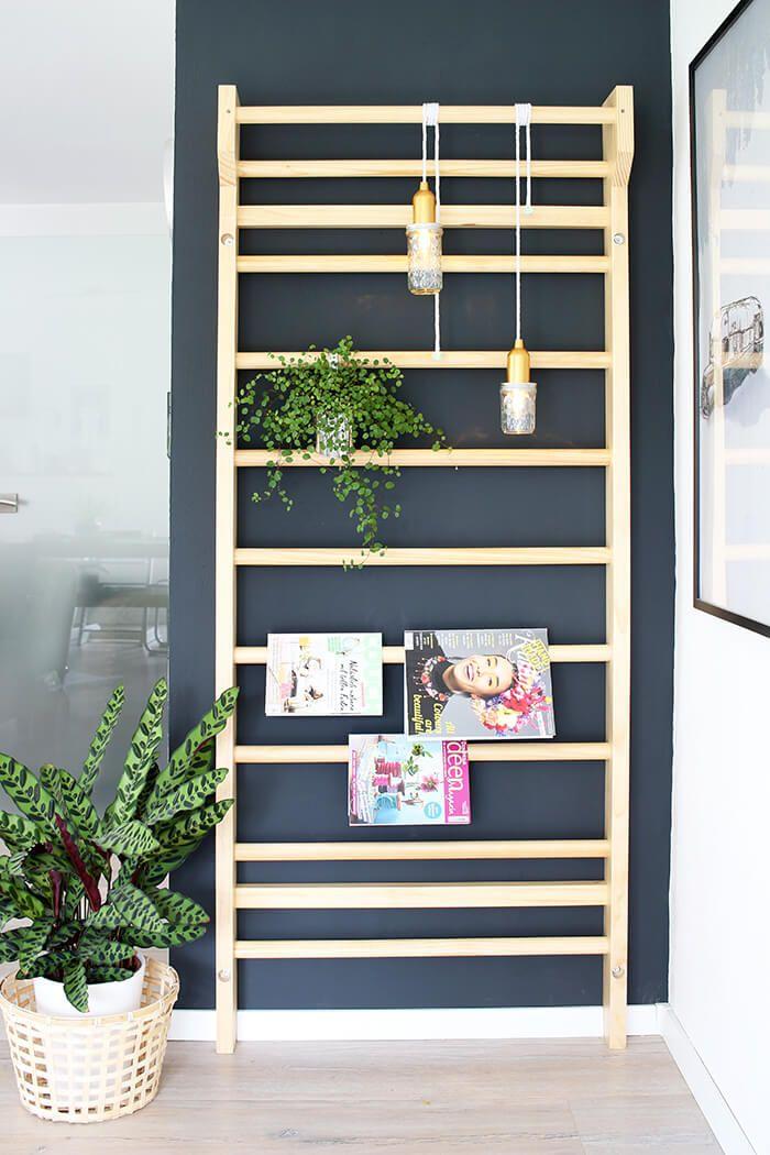 Einrichten Eine Sprossenwand als Deko im Wohnzimmer einsetzen - wohnzimmer deko wand