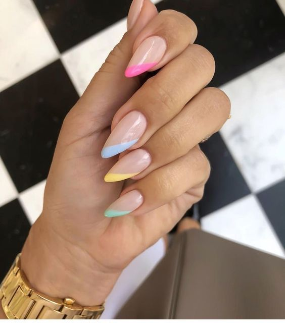Colorful Gel Tips Summer Nails Colors Designs Colorful Nail Designs Pretty Nail Designs