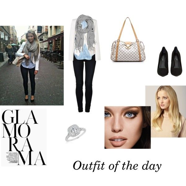 Outfit of the day by emma-sjoelin on Polyvore featuring ONLY, Vanessa Bruno, even&odd, Louis Vuitton, Reeds Jewelers, Love Quotes Scarves, Maybelline and Hershesons
