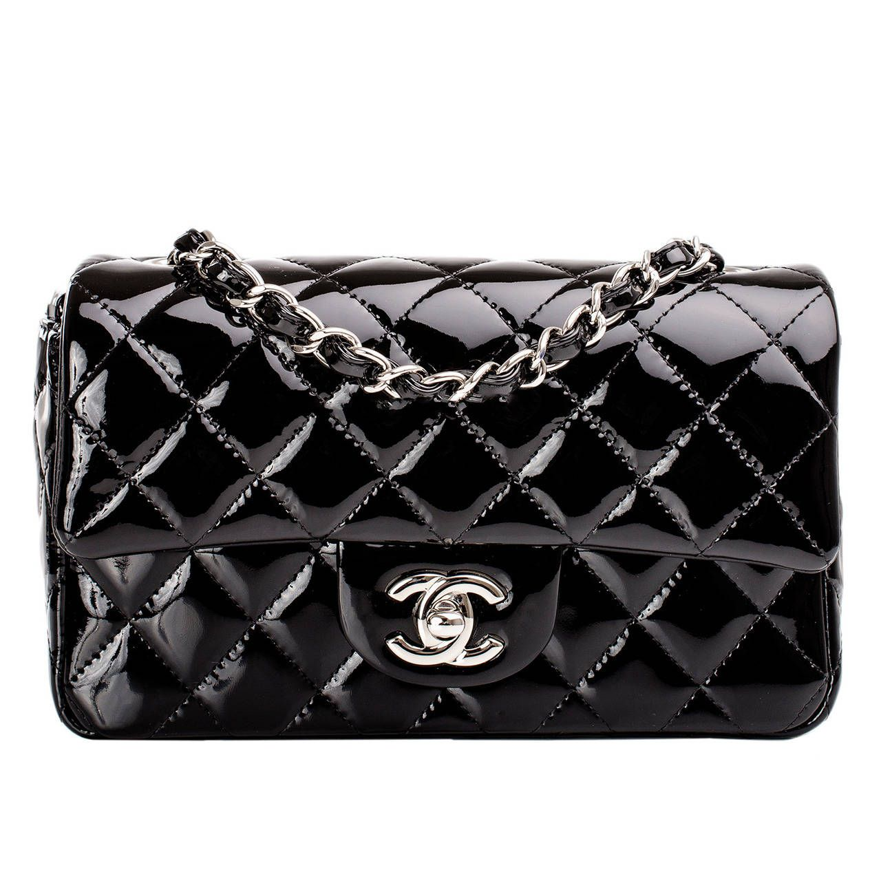 5244ed01b1e7 Chanel Black Quilted Patent Small Classic Flap Bag | Bags | Chanel ...