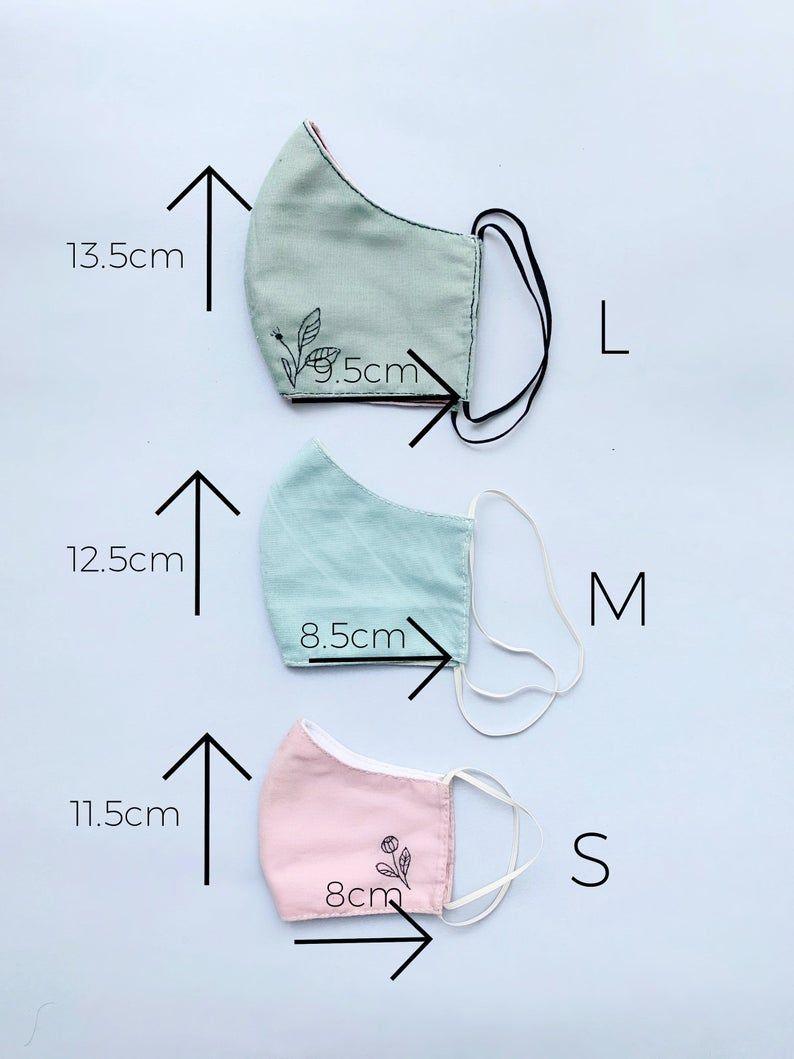 Bordado a mano – lavable, protector, reutilizable, de doble capa, máscara facial de algodón – hecho en el Reino Unido  – Boda fotos