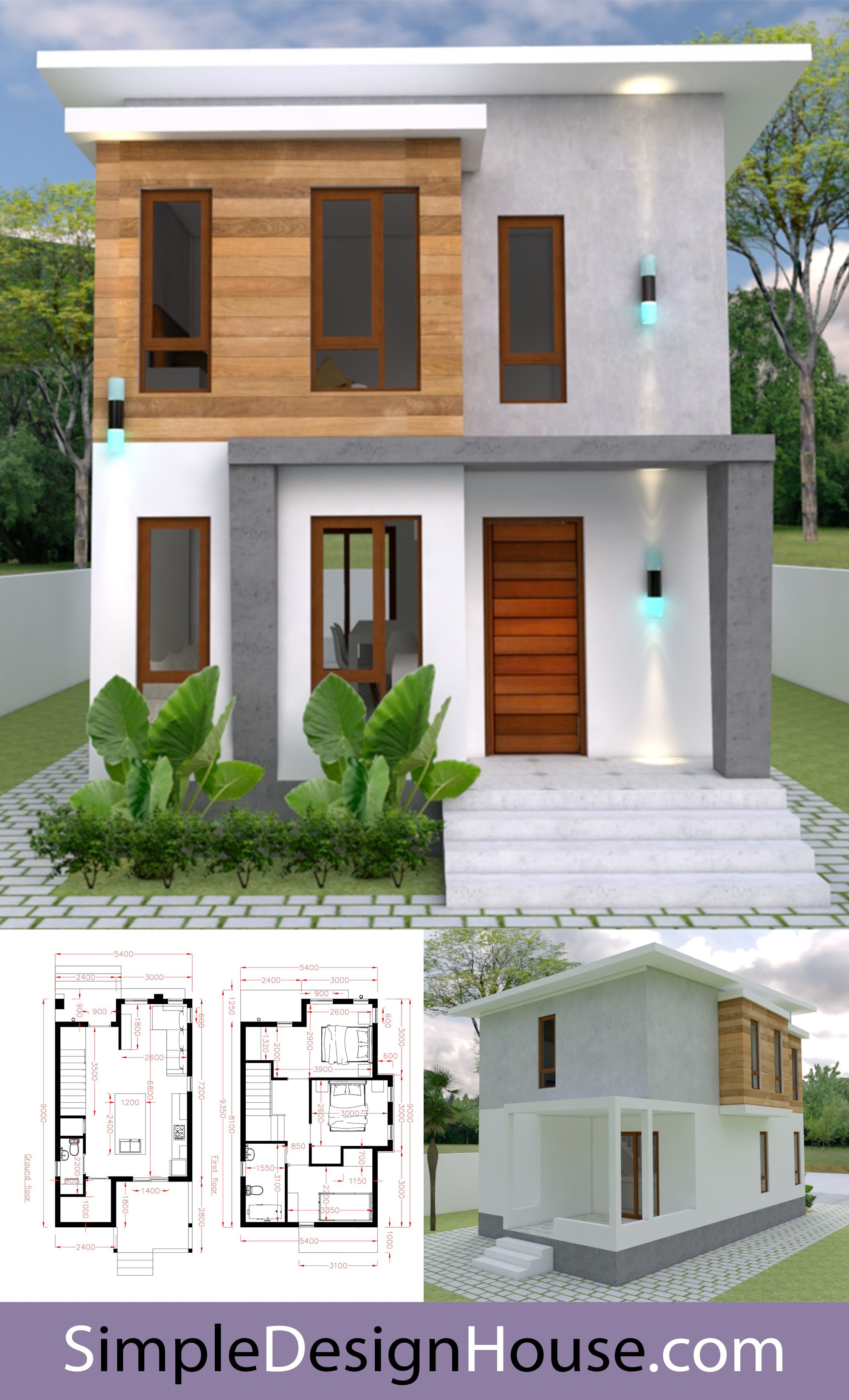 House Plans 5 4x9m With 3 Bedrooms In 2020 Simple House Design House Architecture Design Narrow House Designs