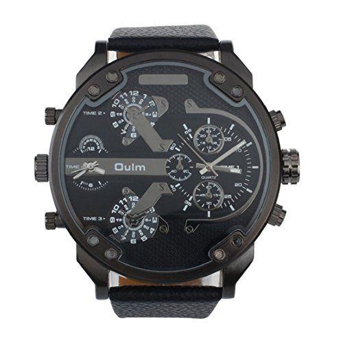 Tonsee Luxus Militär Armee Dual Zeit Quarz große Dial Armbanduhr OULM Schwarz - http://kameras-kaufen.de/tonsee/tonsee-luxus-militaer-armee-dual-zeit-quarz-dial