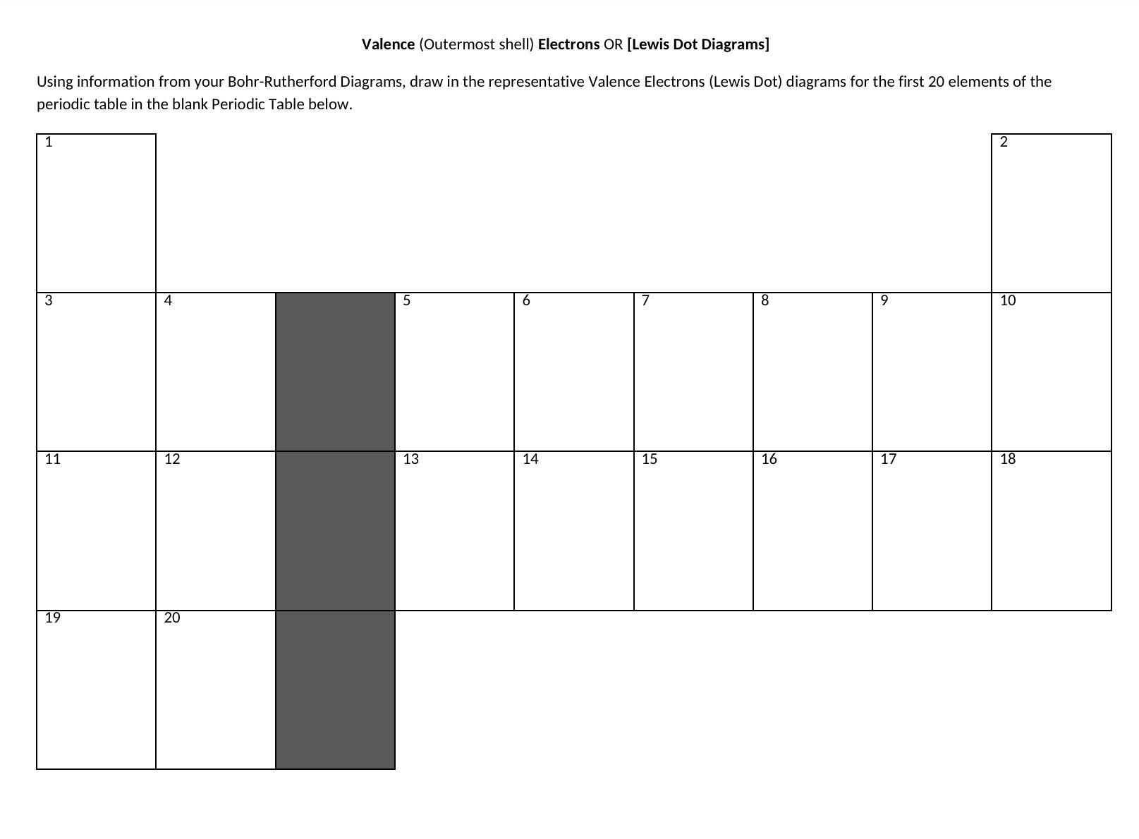 Valence Electron or Lewis-Dot Diagrams - Worksheet - Friday ...