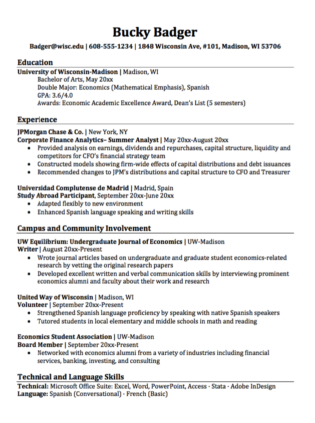 major economics resume sle http