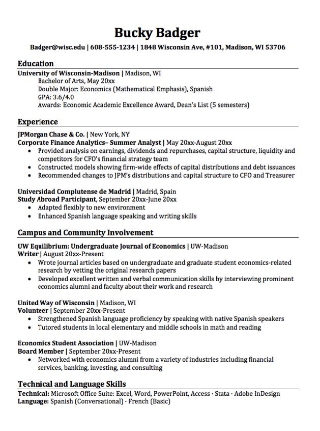 Double Major Economics Resume Sample Free Resume Sample