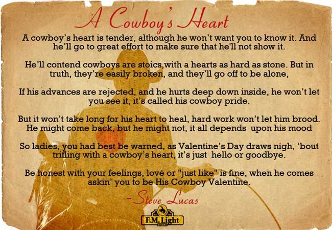 """Happy Valentine's Day from F.M. Light and Sons! Enjoy this poem - """"A Cowboy's Heart"""" by Steve Lucas - Poster by F.M. Light and Sons. #ValentinesDay #Cowboy #Poem"""