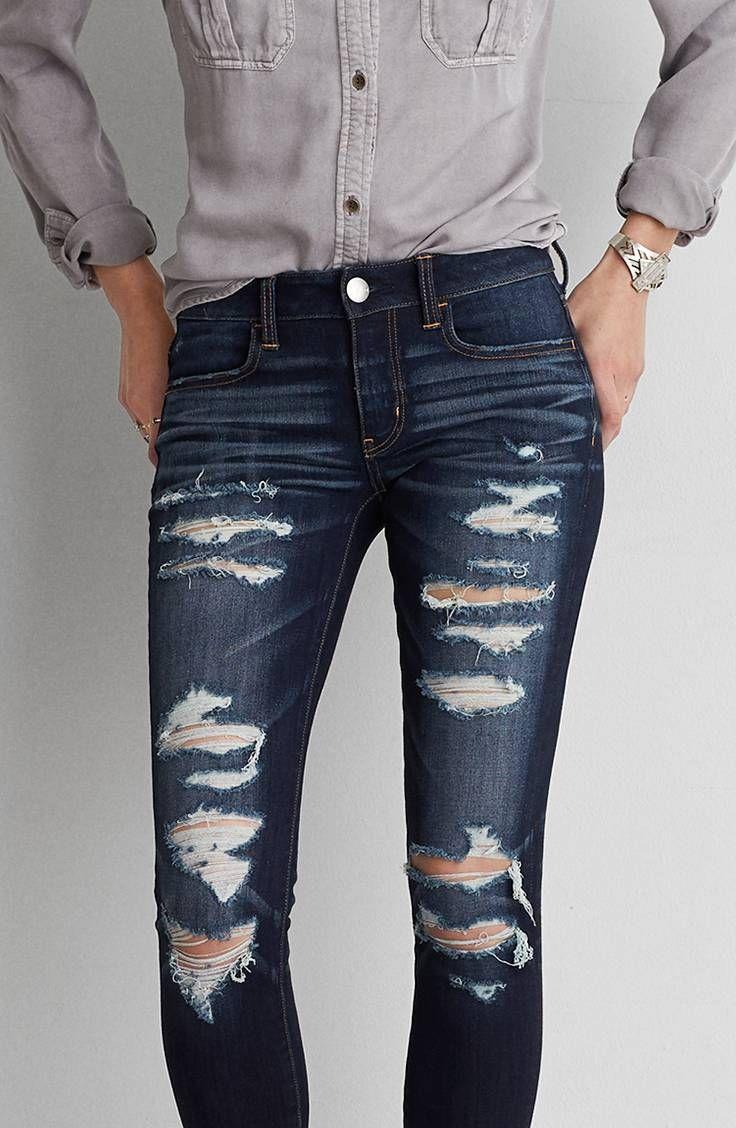 Aeo Denim X4 Jegging Darkest Dazzler Jeans Outfit Women Ripped Jeans Outfit Diy Ripped Jeans