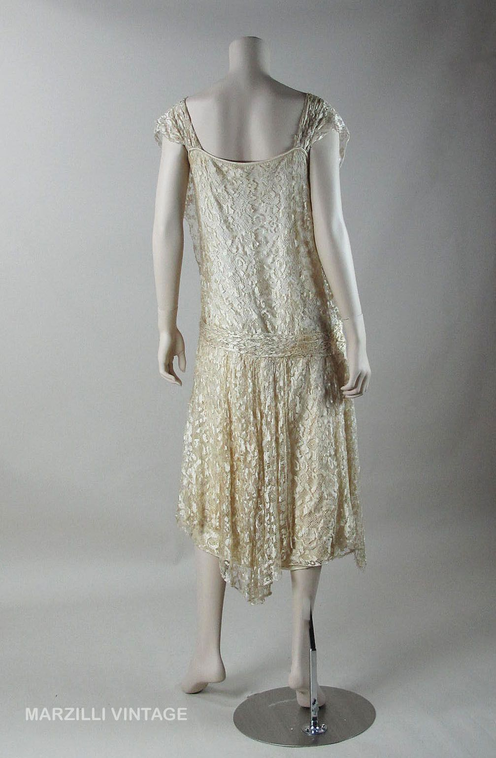 1920's Honey Silk Lace Dress With Ivory Silk Charmeuse Underdress ON LAYAWAY