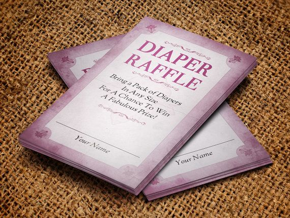 Diaper Raffle Card Publisher Template Is Customized For Any Baby