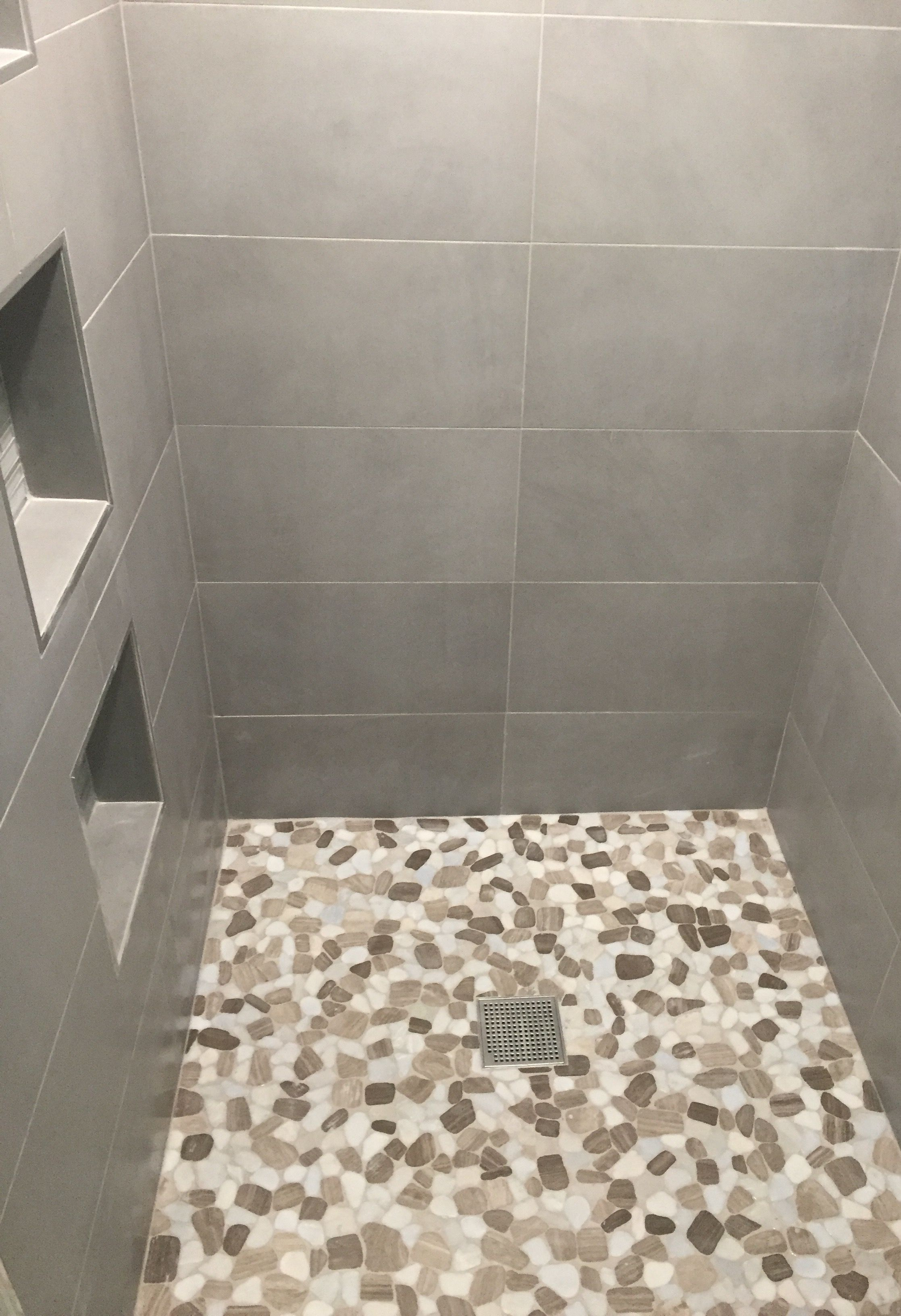 Gray 12x24 Matte Tile On Walls Moonlight Pebble Stone Mosaic On Shower Floor 12x12 Niches Are Elida Ceramics Linen Ice L Shower Floor Stone Mosaic Matte Tile