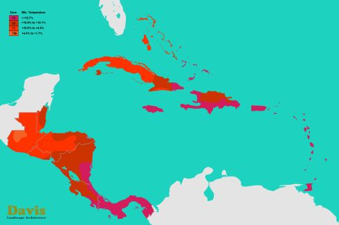 Central America Caribbean Hardiness Map Plant Hardiness Zone
