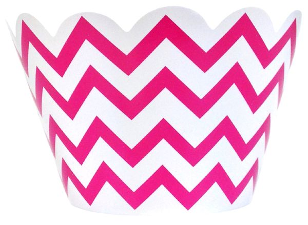 Cupcake Wrapper 20pcs Chevron Fuchsia $2.50 Great for #BirthdayParties or #BabyShowers. #Chevron