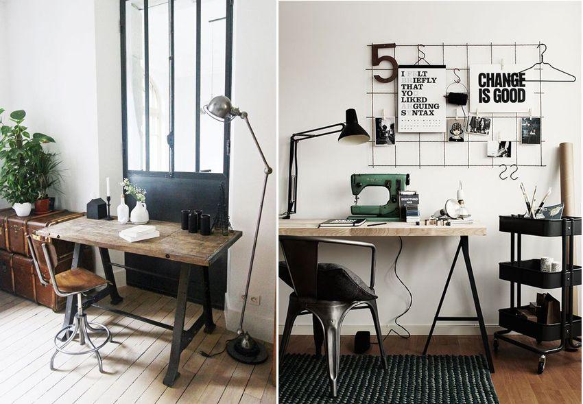 Une touche de style industriel dans la déco un bureau en bois et
