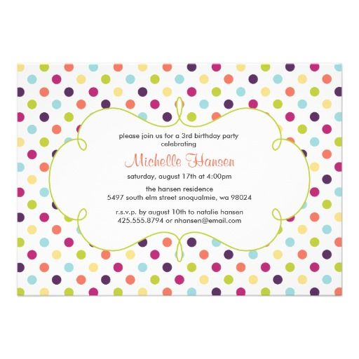 Rainbow Polka Dots Invitation Dots, Invitations and Polka dots