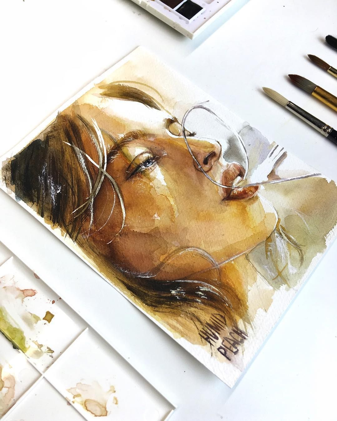 Humid Peach Portrait Art Watercolor Portraits
