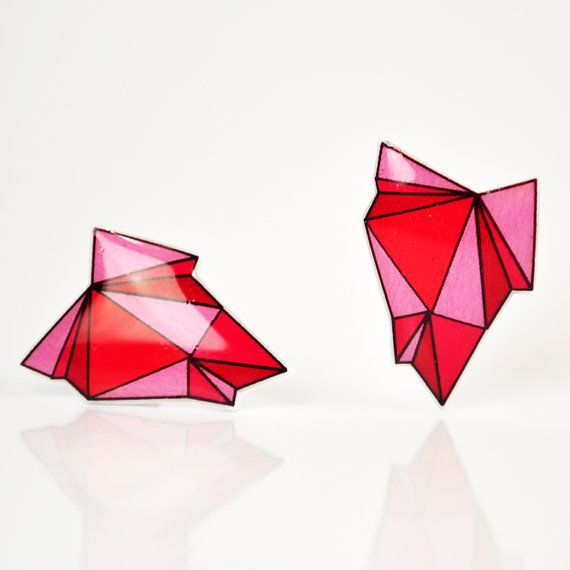 Gemstone inspired faceted Bubblegum Pink Geode Post Earrings.    Features a Ditty Drops original hand drawn abstract faceted geode design.Measures .75 inches tall (1.9 centimeters)