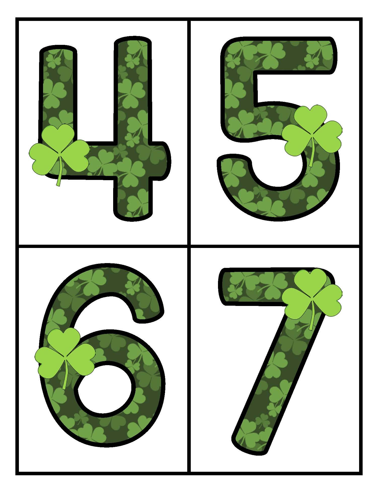 St Patrick S Day Large Numbers 0 20 Flashcards