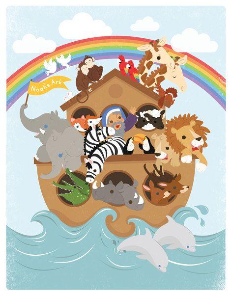 Noahs Ark illustration print. 11x14. Bright colors. Nursery Wall art. Unisex. Large. via Etsy
