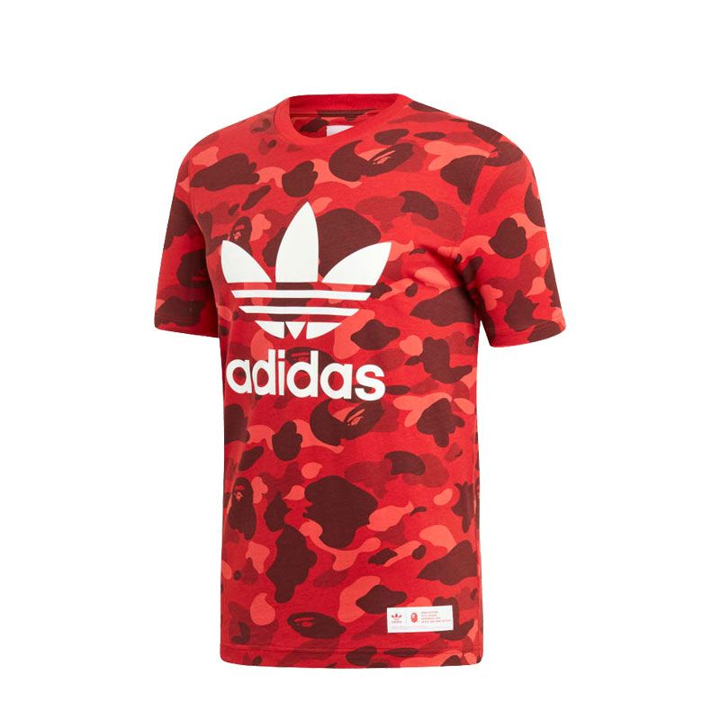 outlet store 100% top quality low cost BAPE x adidas Originals T-Shirt Red - DP0192 | Shirts ...