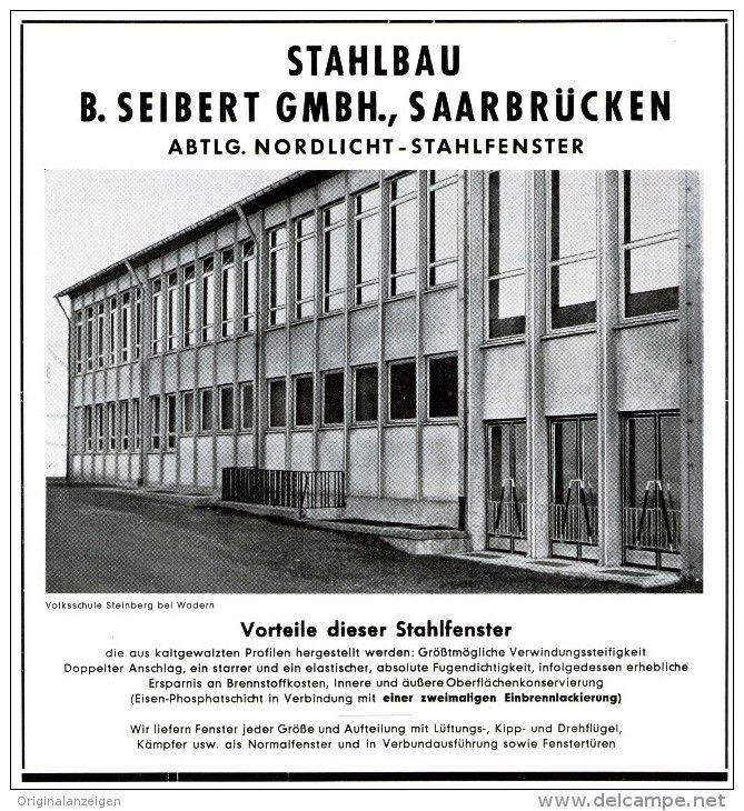 Original-Werbung/ Anzeige 1959 - STAHLBAU SEIBERT - SAARBRÜCKEN - ca.  160 X 180  mm