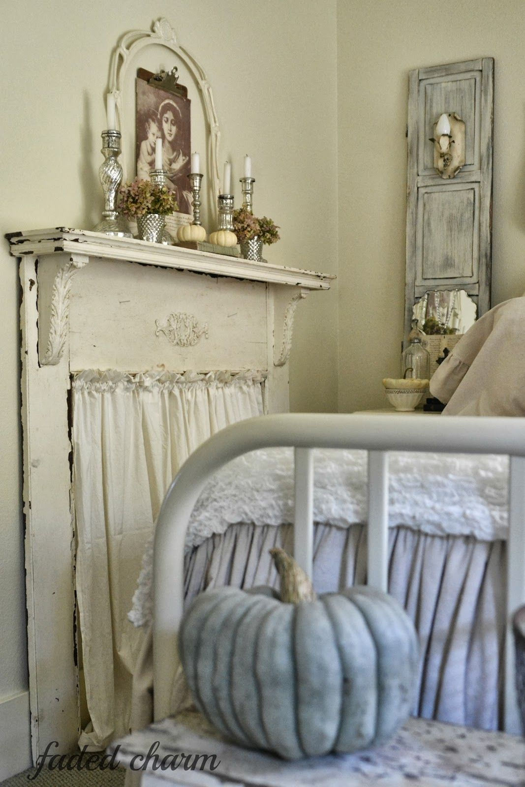 Shabby Chic The faux mantel adds so much personality.