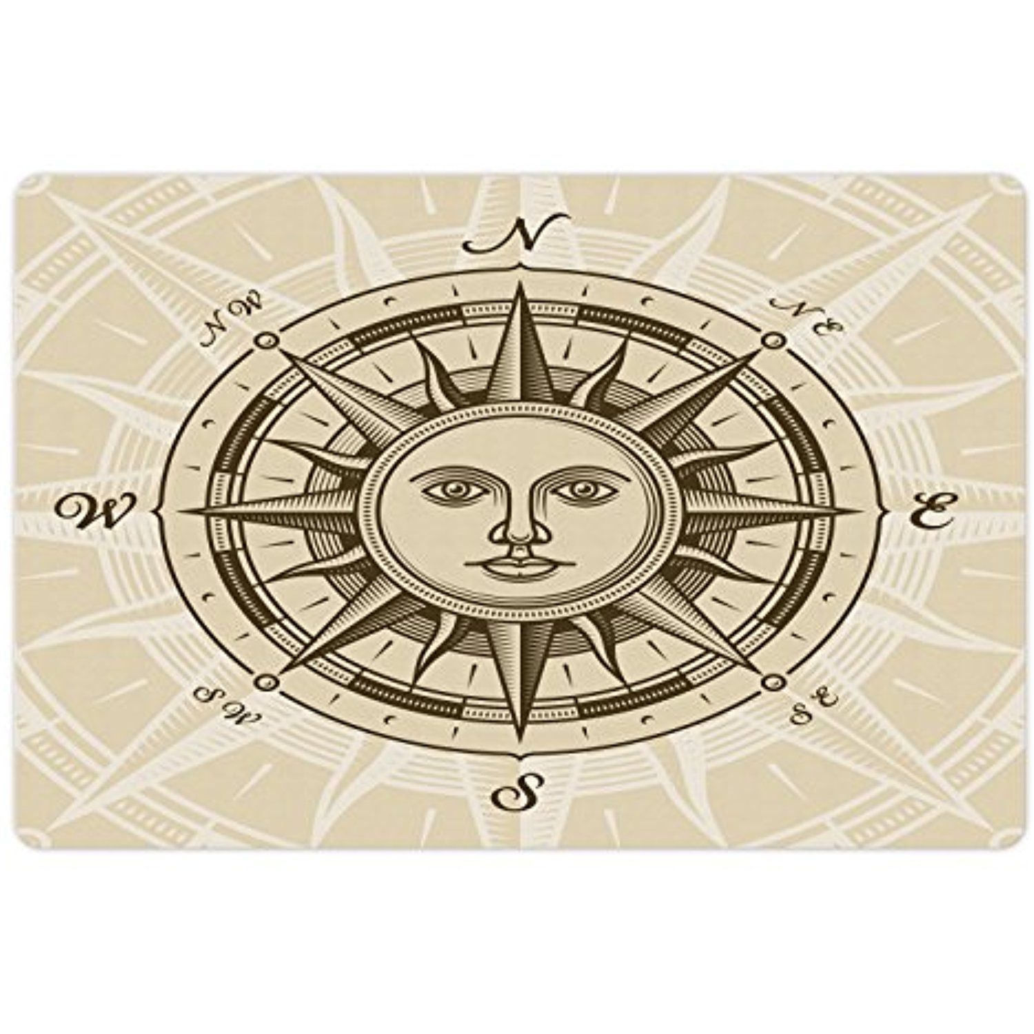 Compass Pet Mats For Food And Water By Lunarable Vintage Rose With Sun Shape Human Face Historical Design Illustration Rectangle Non Slip Rubber