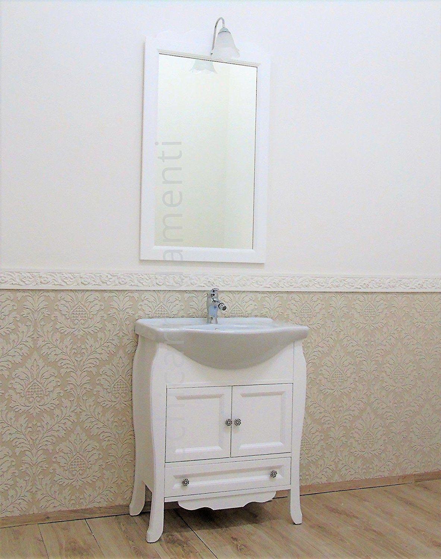 Mobile bagno shabby chic contemporaneo 65 cm bianco opaco arredo ...