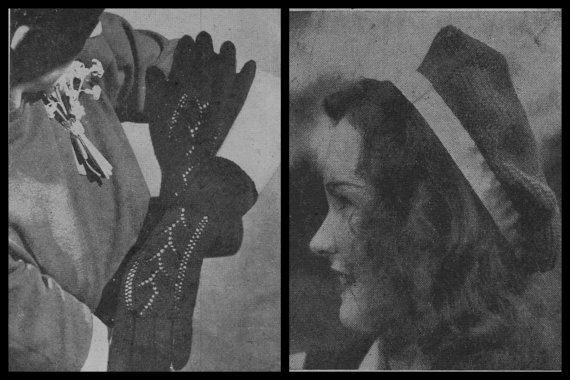 Knitting Pattern, Glove Knitting Pattern, Beret Knitting Pattern, Instant Download, PDF pattern, 1940s, Knitting Pattern Women,