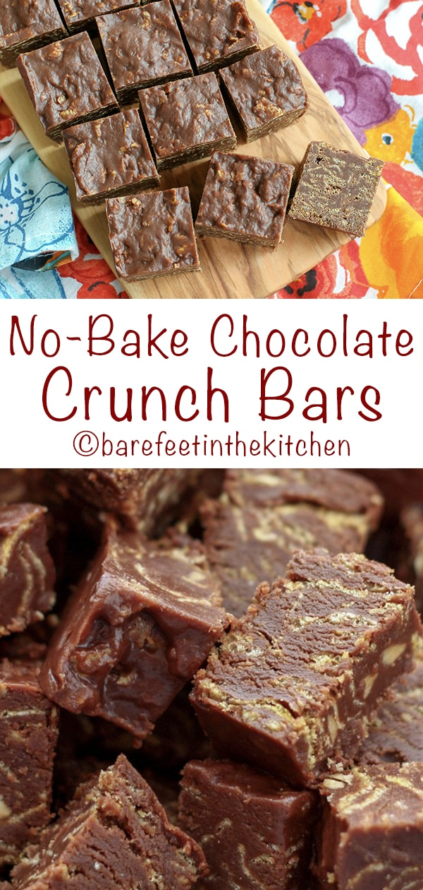 No Bake Chocolate Crunch Bars  get the recipe at barefeetinthekitchen com is part of Desserts -