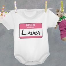 Body personalizowane MY NAME IS różowe idealny na urodziny